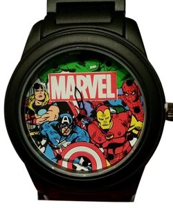 Accutime Watch Corporation NEW MARVEL AVENGERS THOR CAPTAIN AMERICA IRON MAN HULK BLACK WATCH