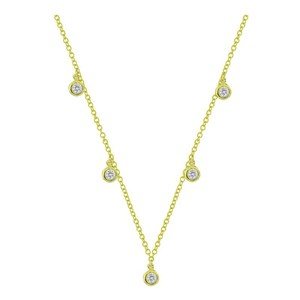 JewelryNest JewelryNest 14k Yellow Gold Bezel Round Diamond Dangle Necklace