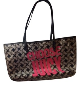 Juicy Couture Purse Tote In Black White With Pink Writing
