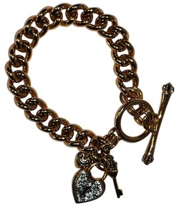 Juicy Couture JUICY COUTURE 2007 Retired RARE Pave Heart Lock & Key Charm Bracelet