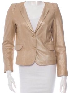 Sandro Nude Very Light Gold Leather Jacket