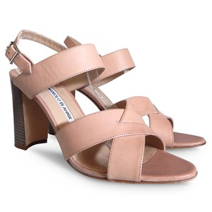 Manolo Blahnik Leather Slingback Sandal Beige/Blush Sandals