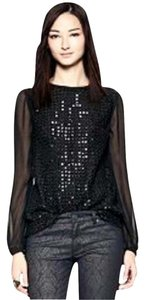 Tory Burch Sequin Longsleeve Top Black