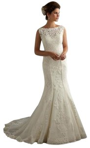 Mori Lee Ivory Lace 5262 Bridal Patterned Embroidery On Champagne Satin Slip Vintage Wedding Dress Size 4 (S)