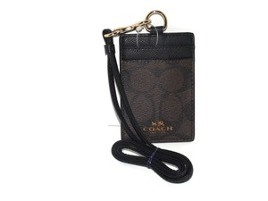 Coach Coach Signature Brown Black Lanyard, Badge ID Card Holder 63274