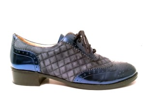 Isaac Mizrahi Patent Leather Quilted Suede Blue Flats