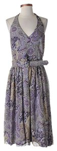 David Meister Silk Paisley Halter Dress