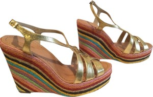Kate Spade Rainbow Of Gold Leather Multi Color Espadrille Wedges