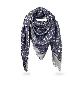 Louis Vuitton Louis Vuitton NEW Monogram Blue Denim Shawl Scarf