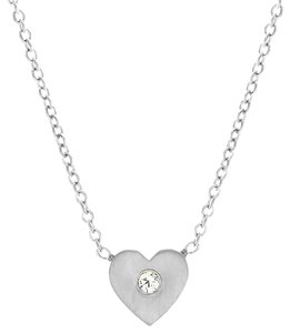 JewelryNest Sterling Silver Diamond Mini Heart-Shaped Necklace