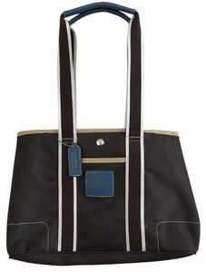 Coach Tote in Dark Brown & Dark Blue
