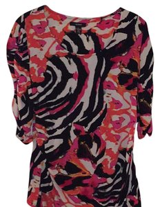 Alfani Top Black pink white multi print