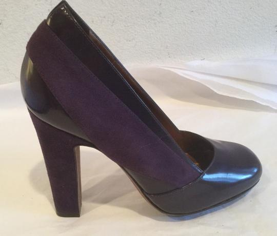 Banfi Zambrelli Suede And Patent Purple Pumps