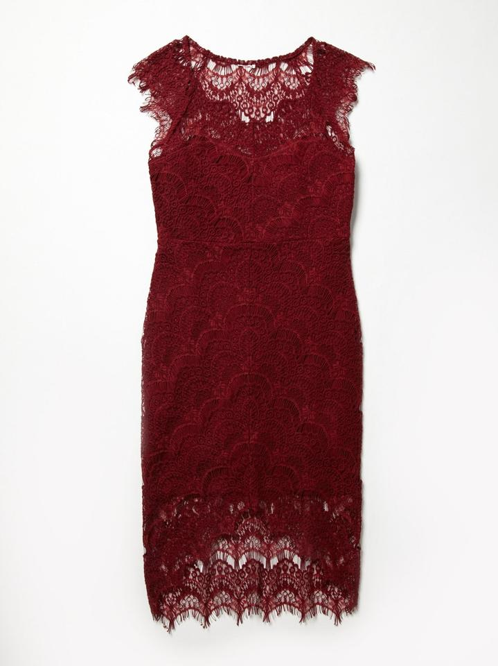 586651c13e066 Free People Cranberry Intimately Peekaboo Lace Above Knee Cocktail Dress  Size 6 (S) - Tradesy