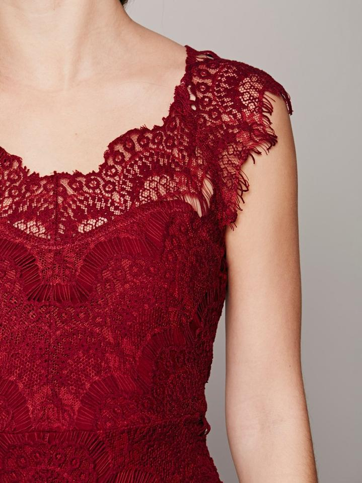 d9d9fa65e571e Free People Cranberry Intimately Peekaboo Lace Above Knee Cocktail ...