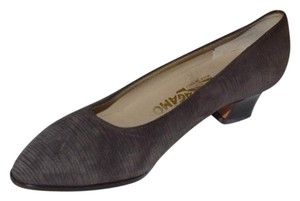 Salvatore Ferragamo Dressy Or Casual Almond Toes grey textured suede with kitten heels Pumps