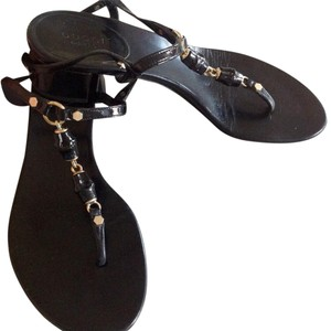 Gucci Leather Chunky Heel Black Sandals