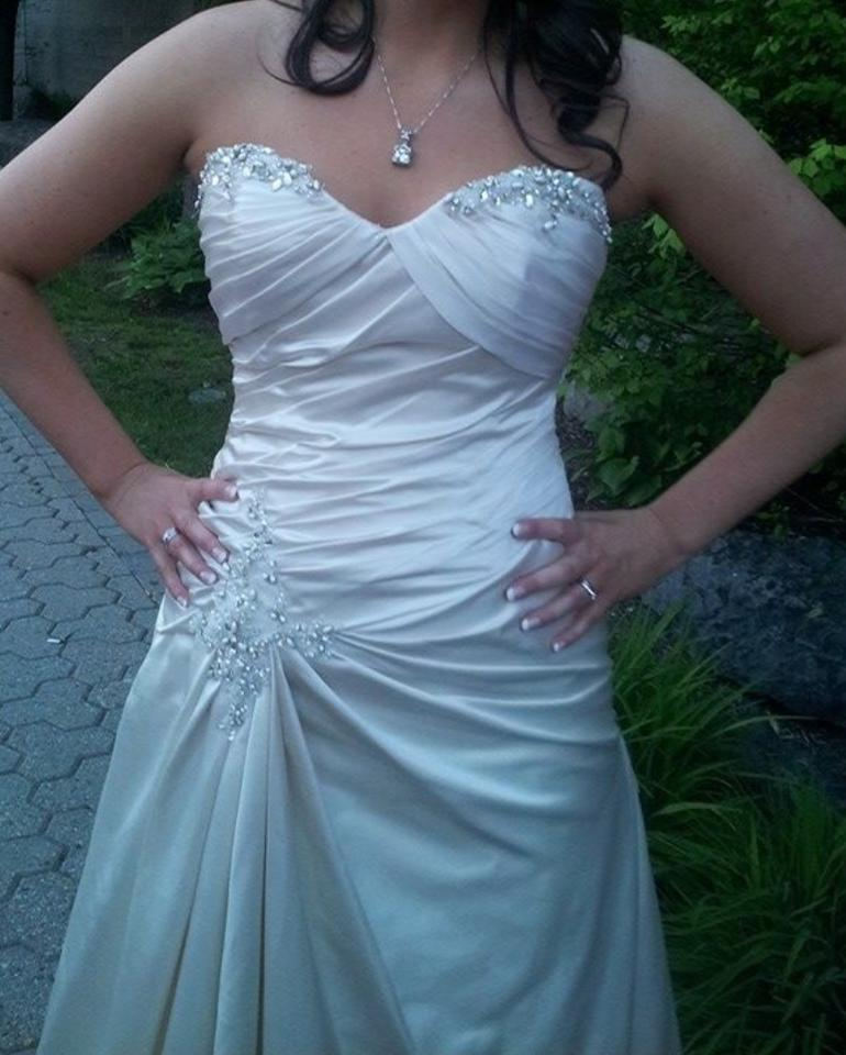 Strapless Mermaid Wedding Gown: Pronovias Ivory Satin Mermaid Ruched Silver Beaded