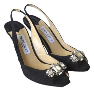 Jimmy Choo Satin Slingback Heels Peep Toe Black Formal