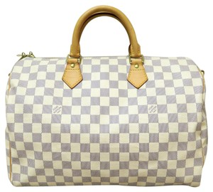 Louis Vuitton Lv Damier Azur Speedy 35 Bandouliere Canvas Satchel in white