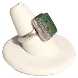 Other Native American Turquoise Bezel Set Rectangular Vintage Ring