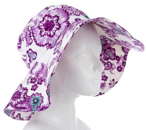 Burberry Ivory, purple floral print Burberry wide brim bucket hat