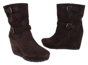 Prada Wedge Buckle Suede Brown Boots