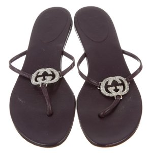 Gucci Leather Gg Crystal Purple, Silver Sandals