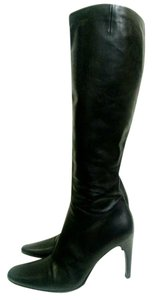 Bally Leather Knee High Heel Black Boots