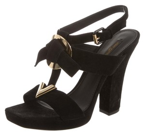Louis Vuitton Hardware Lv Strappy Black, Gold Sandals