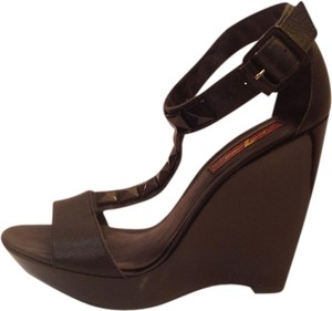 7 For All Mankind Platform Leather Black Wedges