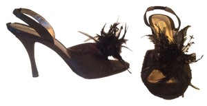 Max Studio Slingback Heels Satin Beaded Feathers Leather Sole Black Formal
