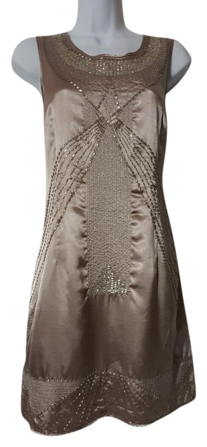 Item - Taupe / Silver Vt30424 Above Knee Formal Dress Size 10 (M)
