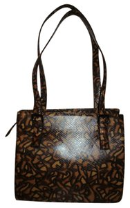 Via Spiga Leather Snakeskin Tote Satchel in tan, brown & black
