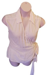J. Jill Sleeveless Wrap Style Solid Top Ivory