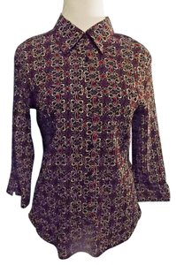 Notations Career 3/4 Sleeve Floral Button Front Top Black, Red and White