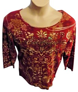 Jane Ashley 3/4 Sleeve Pullover Stretchy Casual Cotton T Shirt Red Multi-Color Print