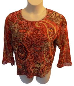 Jane Ashley Casual Cotton Paisley 3/4 Sleeve Scoop Neckline T Shirt Red Multi-Color