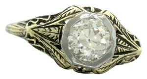 Antique Victorian Diamond Filigree 14K Yellow Gold Engagement Ring