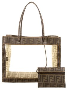 Fendi Zucca Grand Shopping Tote in Brown, Clear, Black