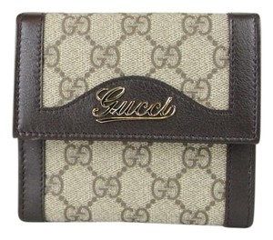 Gucci GUCCI GG Plus/Leather French Wallet w/Script Logo 282412 9643