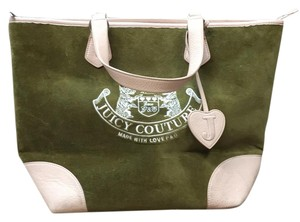 Juicy Couture Tote in Olive Green and Pale Pink