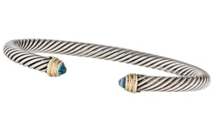 David Yurman Sterling silver David Yurman blue topaz cable classics 5 mm cuff