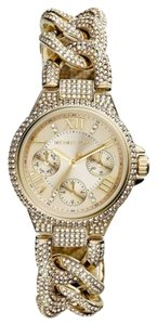 Michael Kors Michael Kors Mini Camille MK3330 Gold Chain Link Pave Crystal Watch