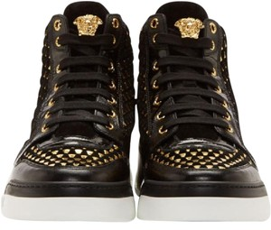 Versace Black W New Suede Gold Weave Sneakers W/Gold Medusa For Men 10 Shoes