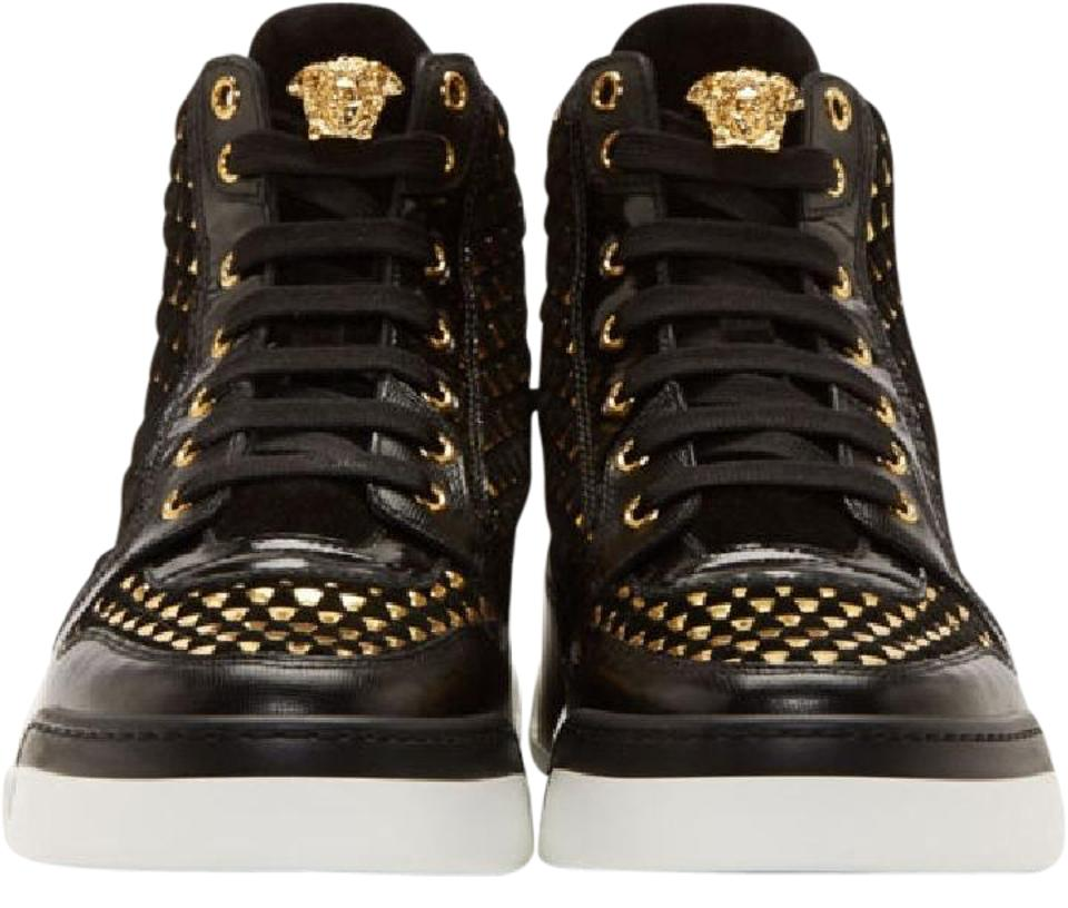 Versace Black New Suede Gold Weave Sneakers W Gold Medusa For Men 10 Shoes  - Tradesy a9702ffc4