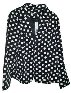 Allegra K black and white polka dots Blazer
