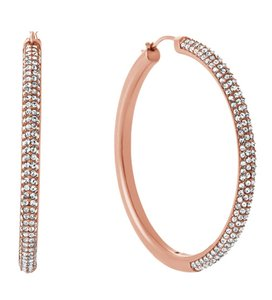 Michael Kors Michael Kors MKJ4935 Rose Gold Crystals Hoop Earrings NEW! $145