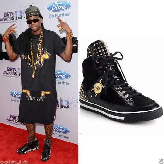 Versace Black New Studded High-top Sneakers 39 - 6 Shoes Image 3