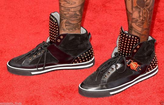 Versace Black New Studded High-top Sneakers 39 - 6 Shoes Image 4